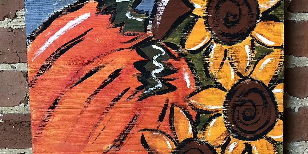 Pallet Pumpkin & Sunflowers 9/18