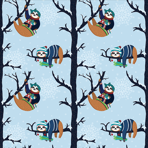 Michelle's 1 Yard of Christmas Sloths -French Terry
