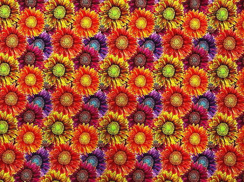 Michelle's HALF YARD cut of Colorful Sunflowers -French Terry