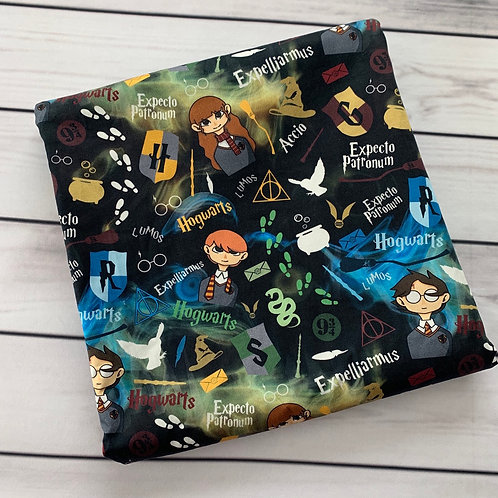 "Michelle's 1 yard +15"" of HP Characters on Smoke - Cotton Lycra"