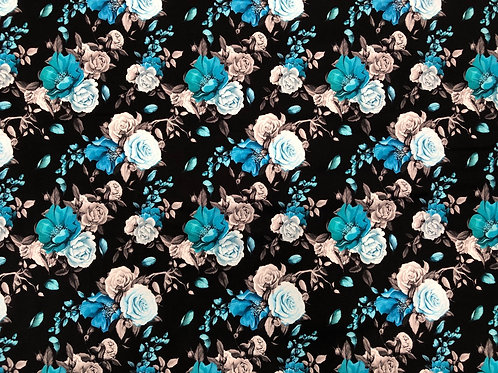 Michelle's 1 yard of Blue Floral- Athletic Spandex