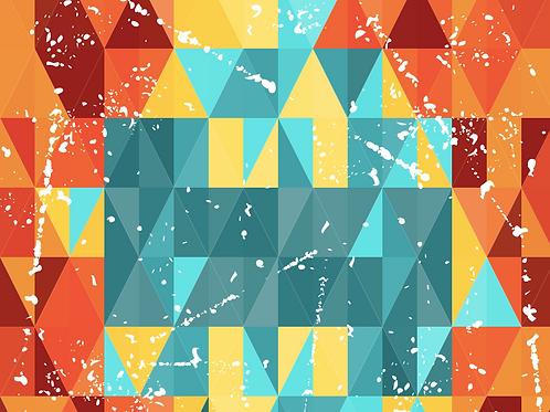 Michelle's *FAT HALF Cut* Bright Triangles - Cotton Lycra