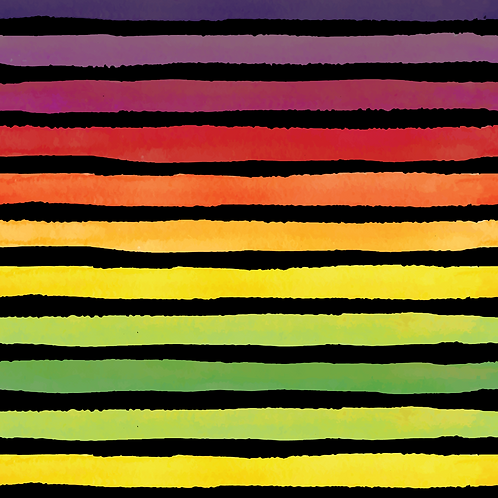 Michelle's *1 Yard Cut* Rainbow Veggie Stripes Black  - Woven