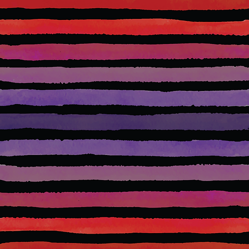 Michelle's **HALF YARD cut** Purple/Red Veggie Stripes on Black- Cotton Lycra