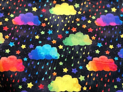 Michelle's *HALF Yard Cut*- Rainbow Acid Rain on Black - Cotton Lycra