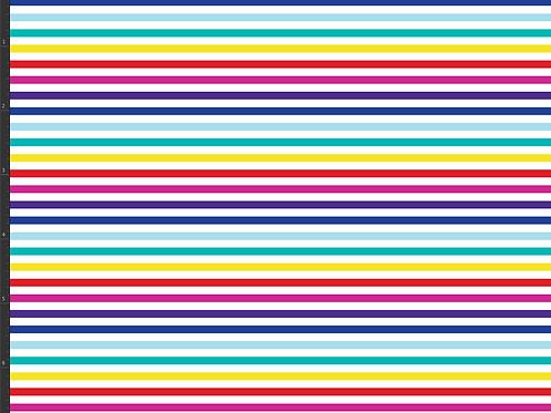 Michelle's 1 yard of Rainbow Micro Stripes on White - Cotton Lycra