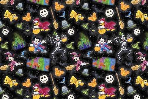 Michelle's Half Yard cut of Halloween Friends - Cotton Lycra