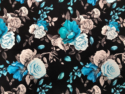 Michelle's 1 YARD cut of Blue Floral - Bamboo Lycra