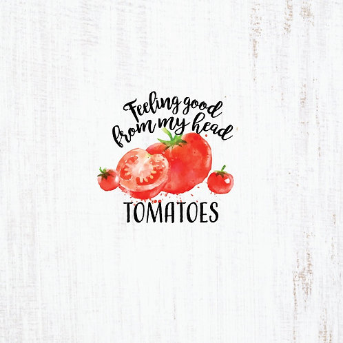 Michelle's *Child PANEL* on Tomatoes on Rustic White- Cotton Lycra