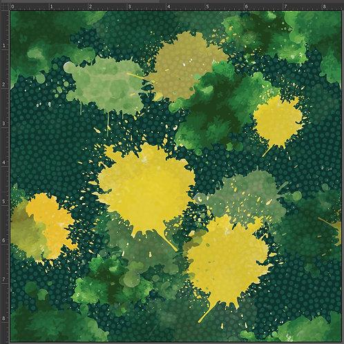 Erica's **1 Yard** Green and Yellow Paint Splatter -Cotton Lycra