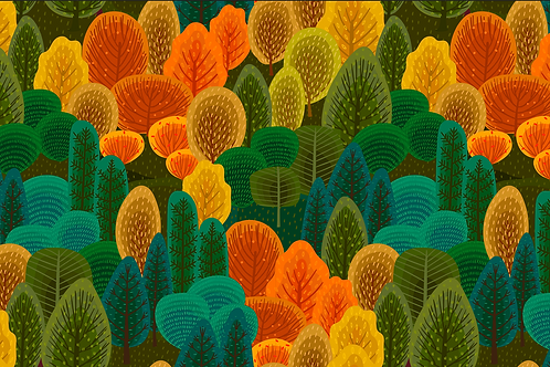 Michelle's 1 Yard cut of Autumn Forest- Cotton Lycra