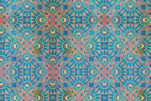 Michelle's 1.5 yard cut of Colorful Mandala - Bamboo Lycra