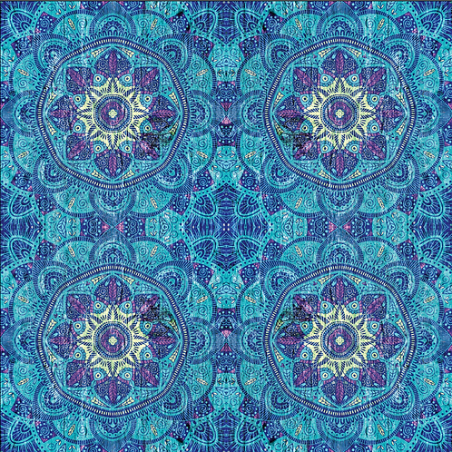Michelle's *1 Yard Cut* Blue Purple Mandala - Woven