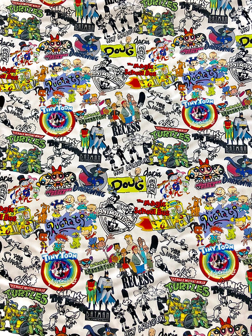 Michelle's 1 yard of 90's Characters on White -Double Brushed Polyester
