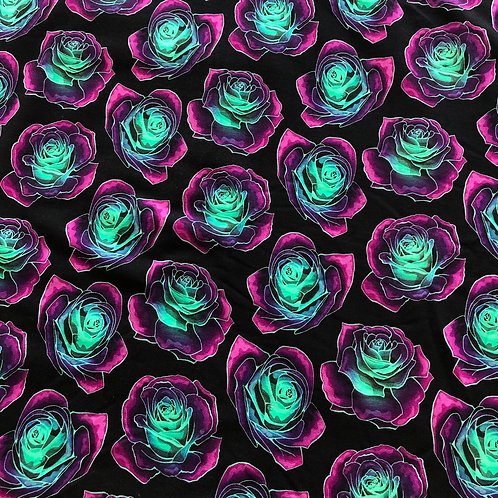 Michelle's **1 yard cut ** Whimsy Roses DIFFERENT BATCH -Rayon French Terry