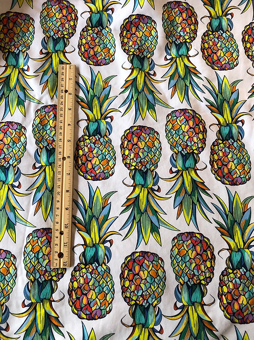 Michelle's LARGE SCALE 1 yard cut of Rainbow Pineapple - Cotton Lycra