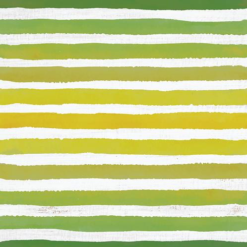 Michelle's **HALF YARD cut** Green Veggie Stripes on Rustic White- Cotton Lycra