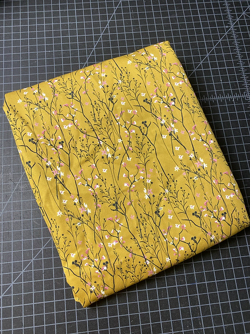 Erica's ***1/2 Yard***Mustard Floral-PREMIUM COTTON WOVEN