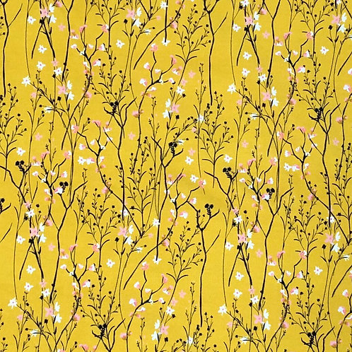 Michelle's 1 yard cut of Mustard Baby's Breath - Bamboo Lycra