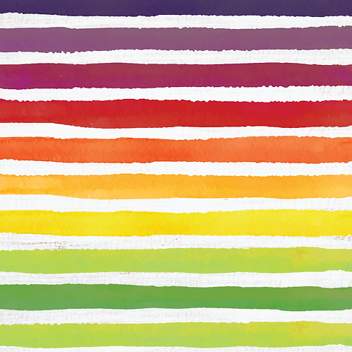 Michelle's *HALF YARD cut* Rainbow Veggie Stripes on Rustic White- Cotton Lycra