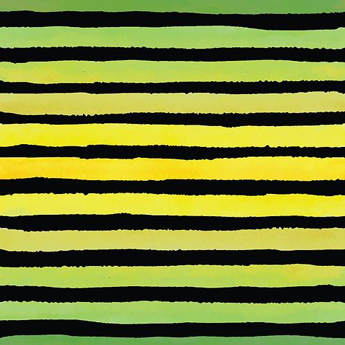Michelle's *1 Yard Cut* Green Stripes on Black - Woven
