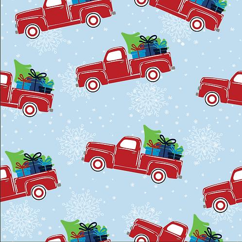 Michelle's *1 Yard Cut* Christmas Trucks Cotton Lycra