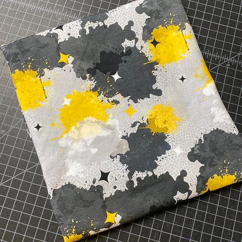 Erica's **1/2 Yard** Black and Gold Paint Splatter -Cotton Lycra