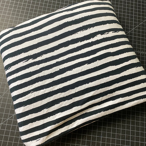 Erica's 1 yard cut Black and White Grunge Stripes- COTTON LYCRA