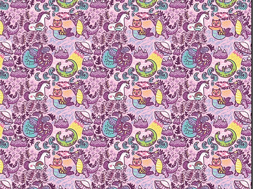 Michelle's 1 yard of Pink Purmaid Life Main Print -Double Brushed Polyester