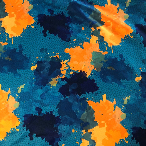 """Michelle's 1 Yard + 9"""" cut of Miami D Paint Splatter -Double Brushed Polyester"""
