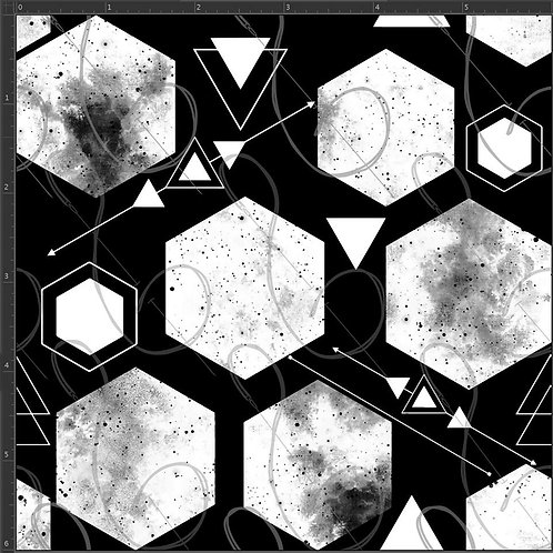Michelle's 1 Yard Cut of BW Grunge Hexes Athletic Spandex