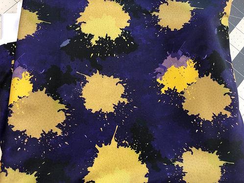 Michelle's 1 yard of Purple Black & Gold Paint Splatters -SWIM