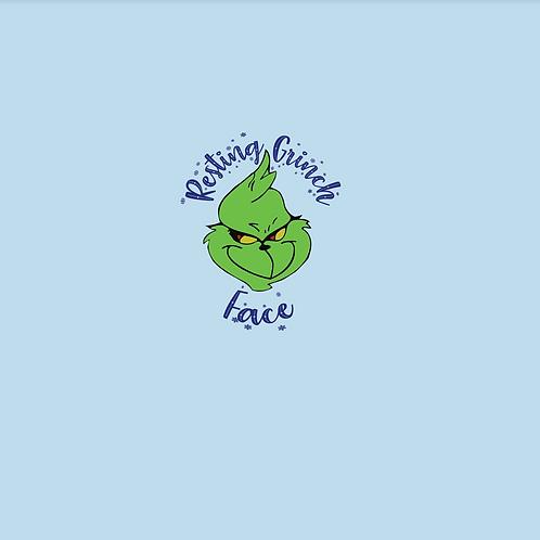 Michelle's *Child PANEL* Resting Grinch Face on Blue- Cotton Lycra