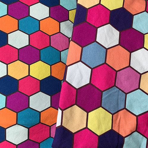 Erica's **LARGER SCALE** **FAT HALF** Spring Hexes-Cotton Lycra