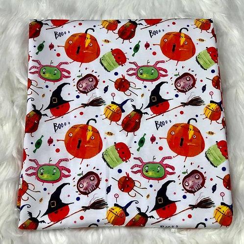 Michelle's 1 Yard cut of Stick Pumpkins - Cotton Lycra