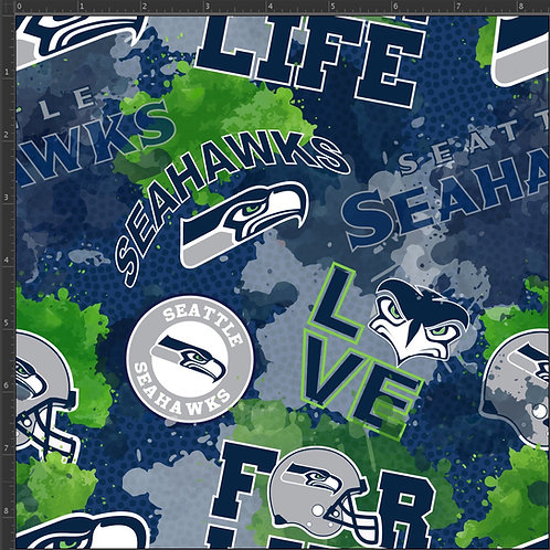 "Erica's **1/2  yard cut** ""12th Man"" Main Print-Cotton Lycra"