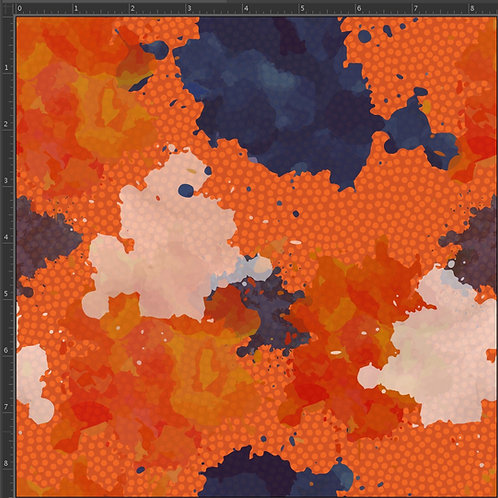 "Michelle's 27"" SHORT CUT of Orange & Blue Paint Splatter -Bamboo Lycra"