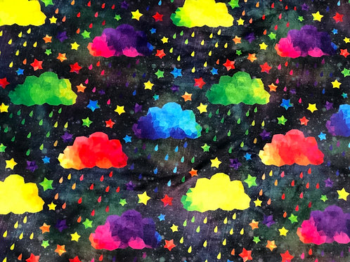 Michelle's Rainbow Acid Rain on Black- Minky