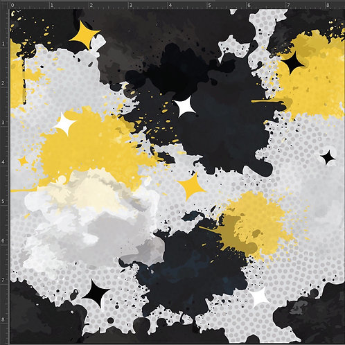 Erica's **1 Yard** Black and Gold Paint Splatter -Cotton Lycra