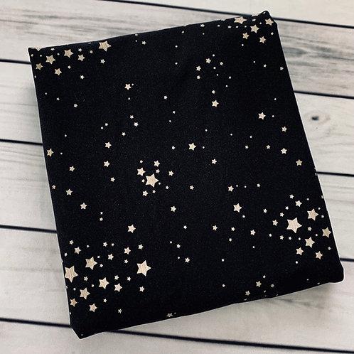 Erica's **1 YARD** Parchment Stars on Black - Cotton Lycra