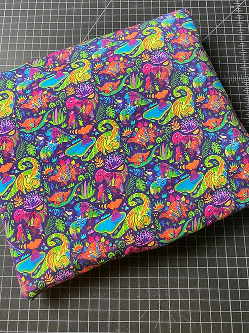 Erica's 1 yard cut of SMALL SCALE Floral Dinos-COTTON LYCRA