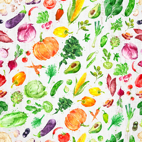 Michelle's **1 Yard cut** Rainbow Veggies on Rustic White- Cotton Lycra