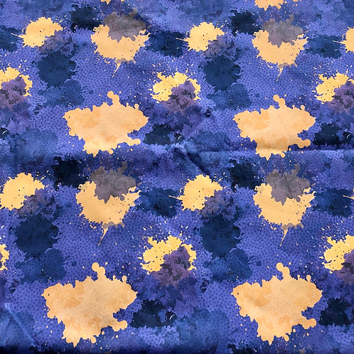 Michelle's Flawed Purple and Gold Paint Splatter - Premium Cotton Woven