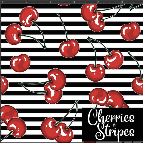 Michelle's 1 yard of Cherries & Stripes - Cotton Lycra