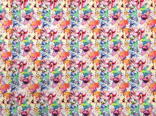 Michelle's 1 yard cut of Pastel Watercolor Flowers - Bamboo Lycra