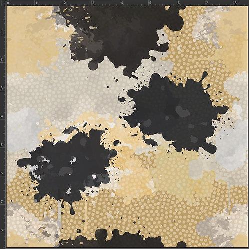 Erica's **1 Yard** Black and Cream Paint Splatter -Cotton Lycra