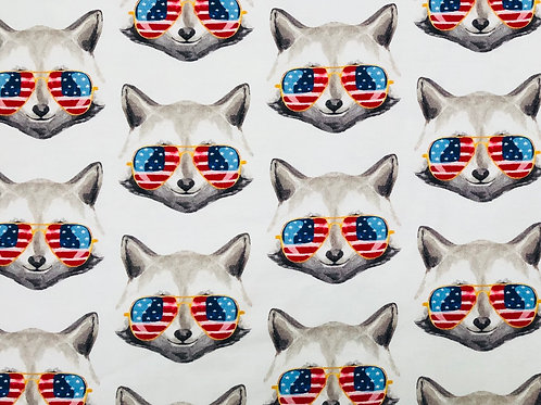 Michelle's 1.5 yard cut of Cool Raccoons - Bamboo Lycra