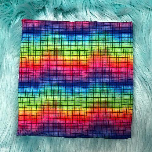 Michelle's Thin Black Grid Grunge Rainbow - Cotton Lycra