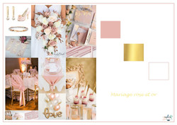 planche mariage rose et or