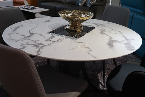 GREY WAVE ROUND MARBLE DINING TABLE
